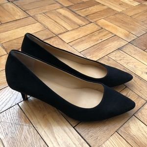 J. Crew Low Suede Kitten Heel Pumps Black